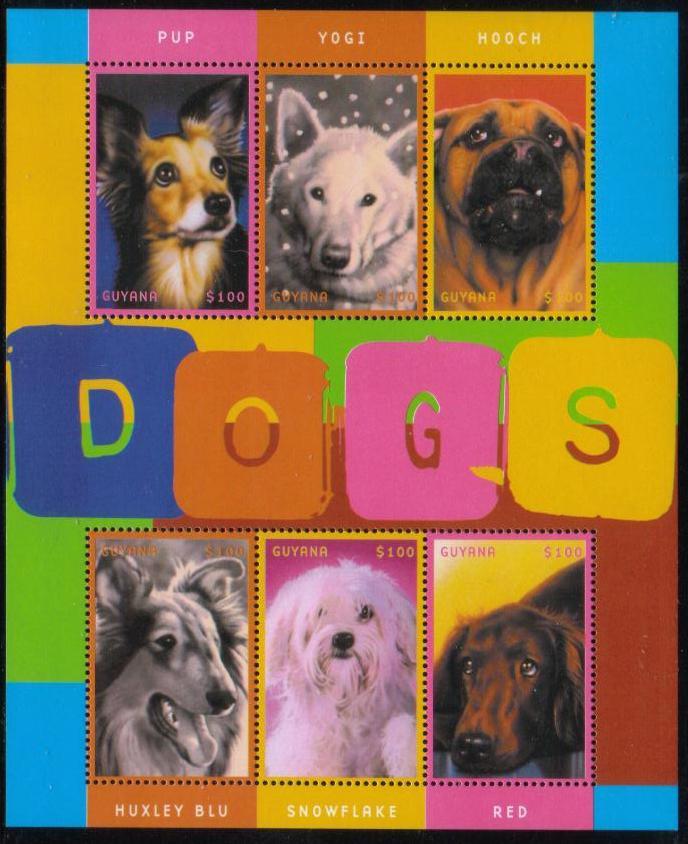 2001年ガイアナ協同共和国 映画の犬たちの切手シート