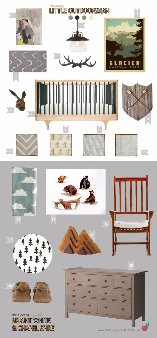 Little Outdoorsman || on California Peach || Nursery Baby Room Interior Design Style Board