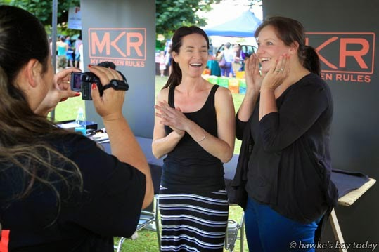 L-R: Renae Maihi, contestant co-ordinator; Julie Gale-Harrison, Bay View, Paula Nicol, Bay View, truck-drivers' wives, being interviewed when applying for the next My Kitchen Rules series - at Farmers Market, Hawke's Bay Showgrounds, Hastings. photograph
