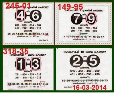 Thai Lotto Magic Winng Tips 16 March 2014