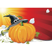 5. Free Vector Halloween Pumpkin with Witch hat