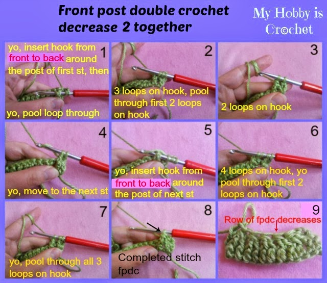 Crochet Stitches Back Post Double Crochet : Crochet: Front post double crochet decrease, back post double crochet ...