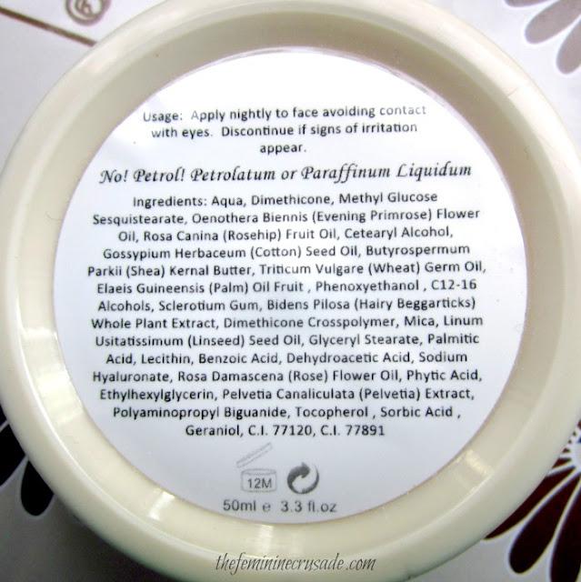 English Rose Cosmetics Nighty Night Cream - Ingredients
