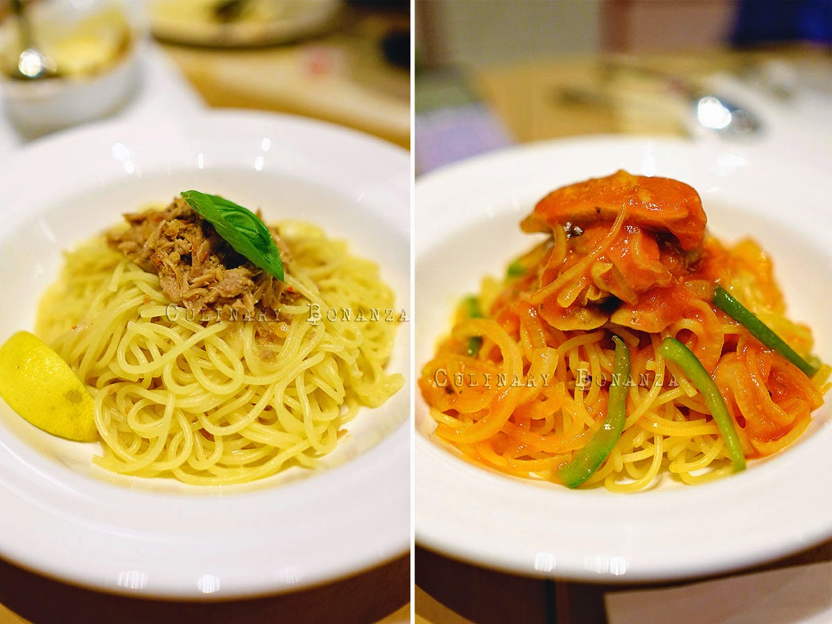 Left: Aglio Olio with Tuna Pasta IDR 48,000 Right: Neapolitan with Chicken Sausage Pasta IDR 52,000