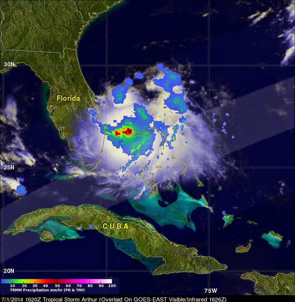occurring in tropical storm arthur on july 1 2014 at 12 20 p m edt showed heavy rain red around the center of the storm image credit nasa ssai