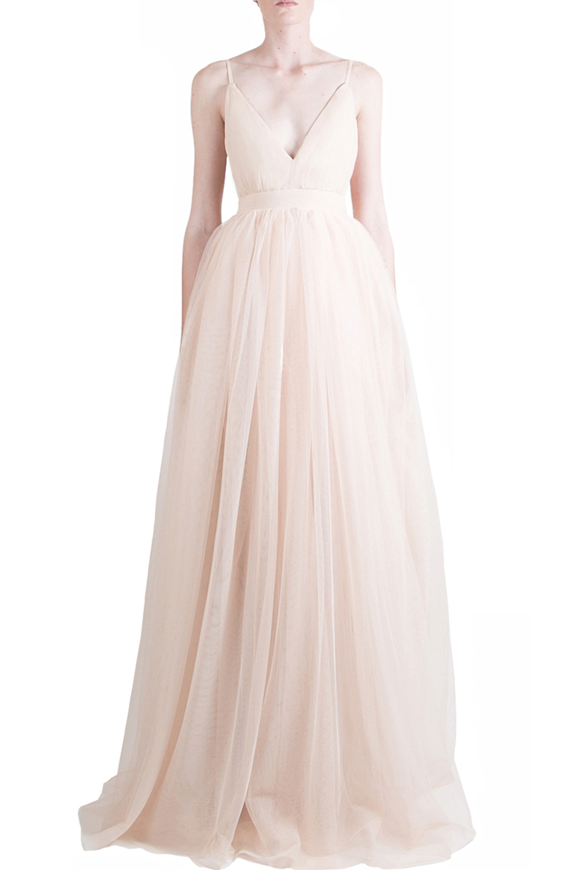 Alyssa Nicole Spring 2015, Silk Tulle Gown, Blush Tulle Gown, Silk Chiffon Gown, Luxury Womenswear Collection, Blush Wedding Gown