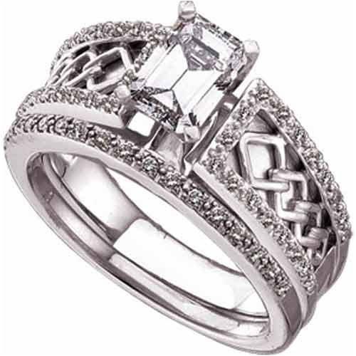 diamond celtic wedding ring set design - Irish Wedding Ring Sets