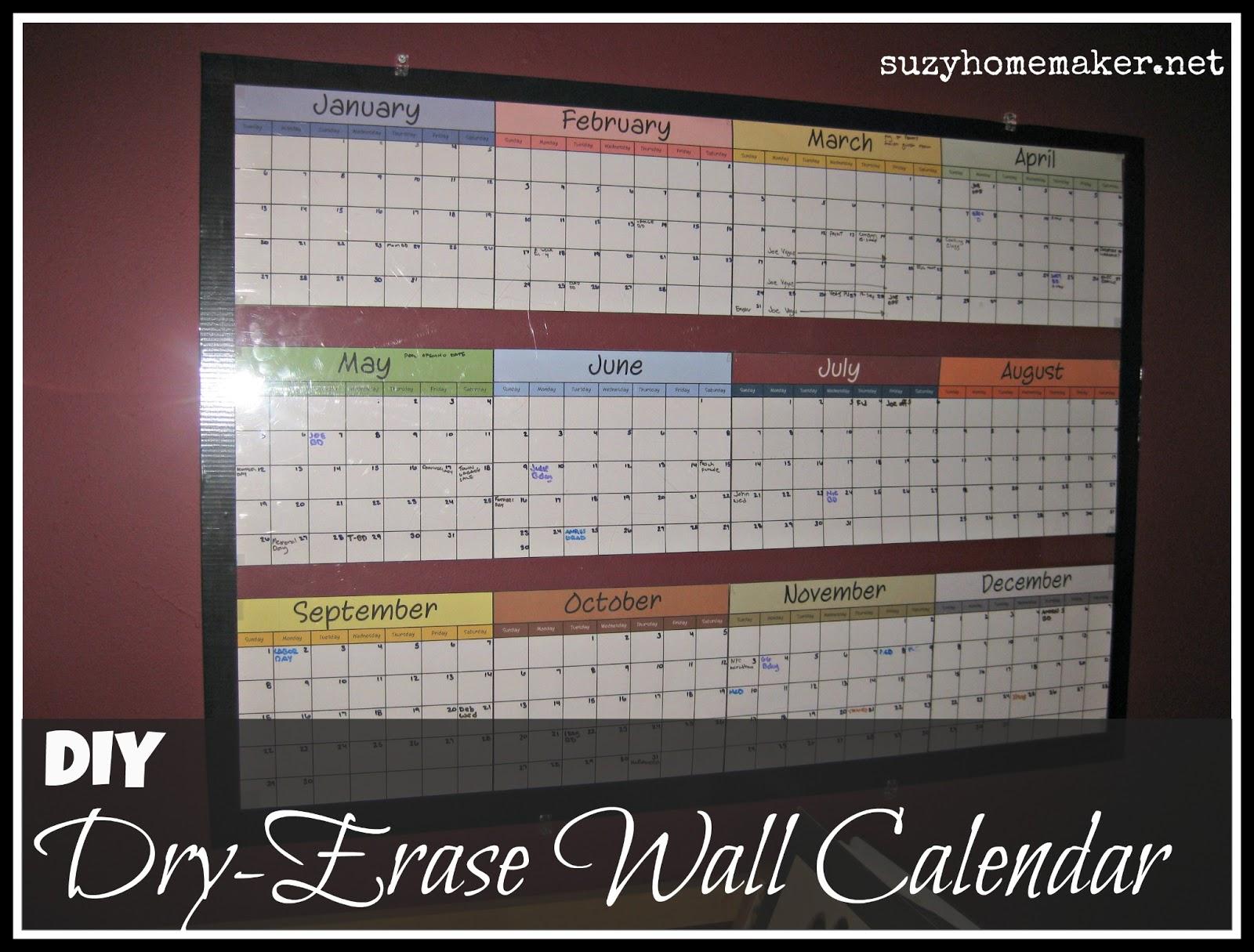 Year Calendar Diy : Diy dry erase wall calendar suzy co