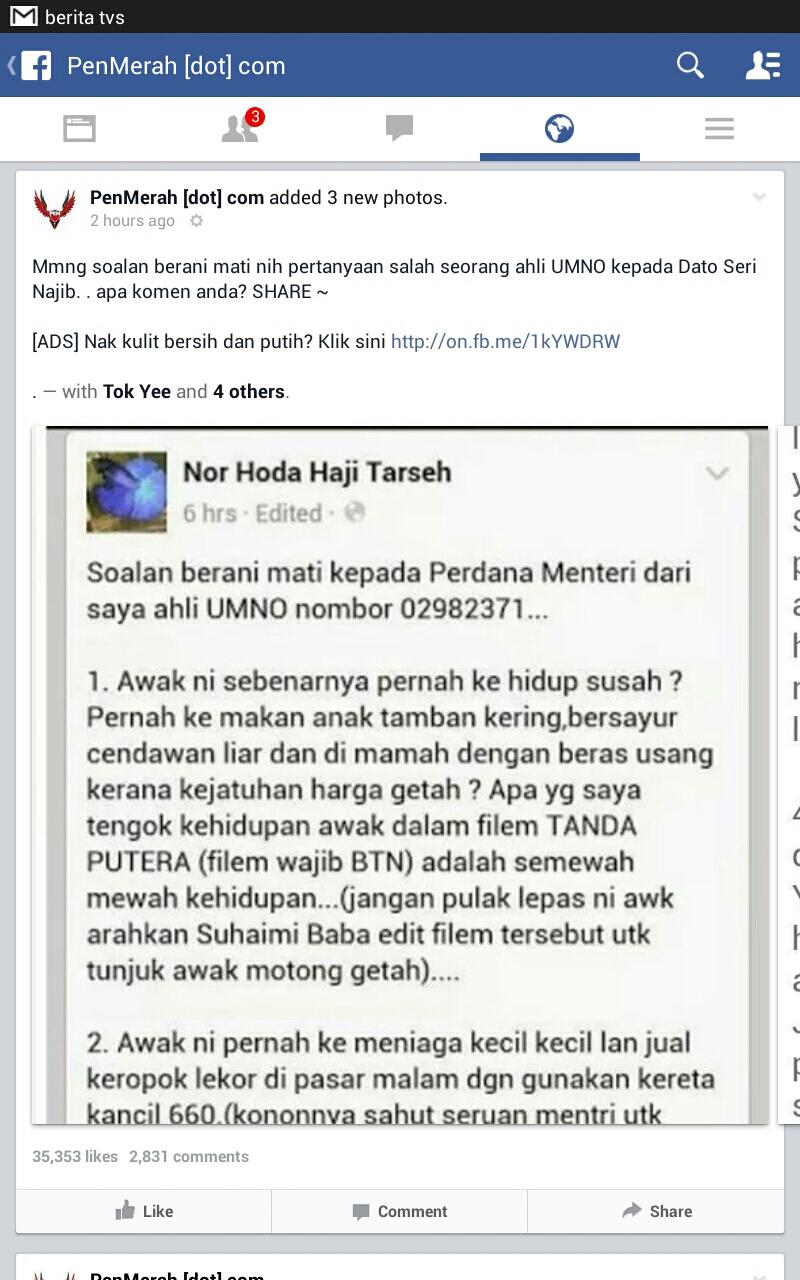 Soalan Berani Mati Ahli Umno Untuk Najib Dapat Ribuan Like Di Facebook