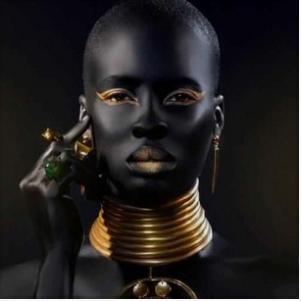 dark skin black african model