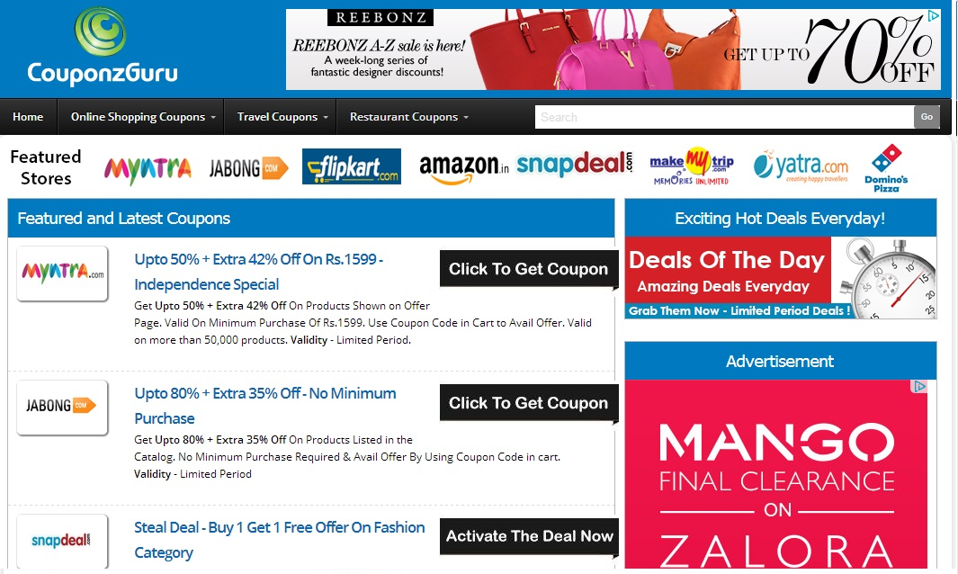 Couponzguru a best place for coupons and discount deals for Online discount shopping sites
