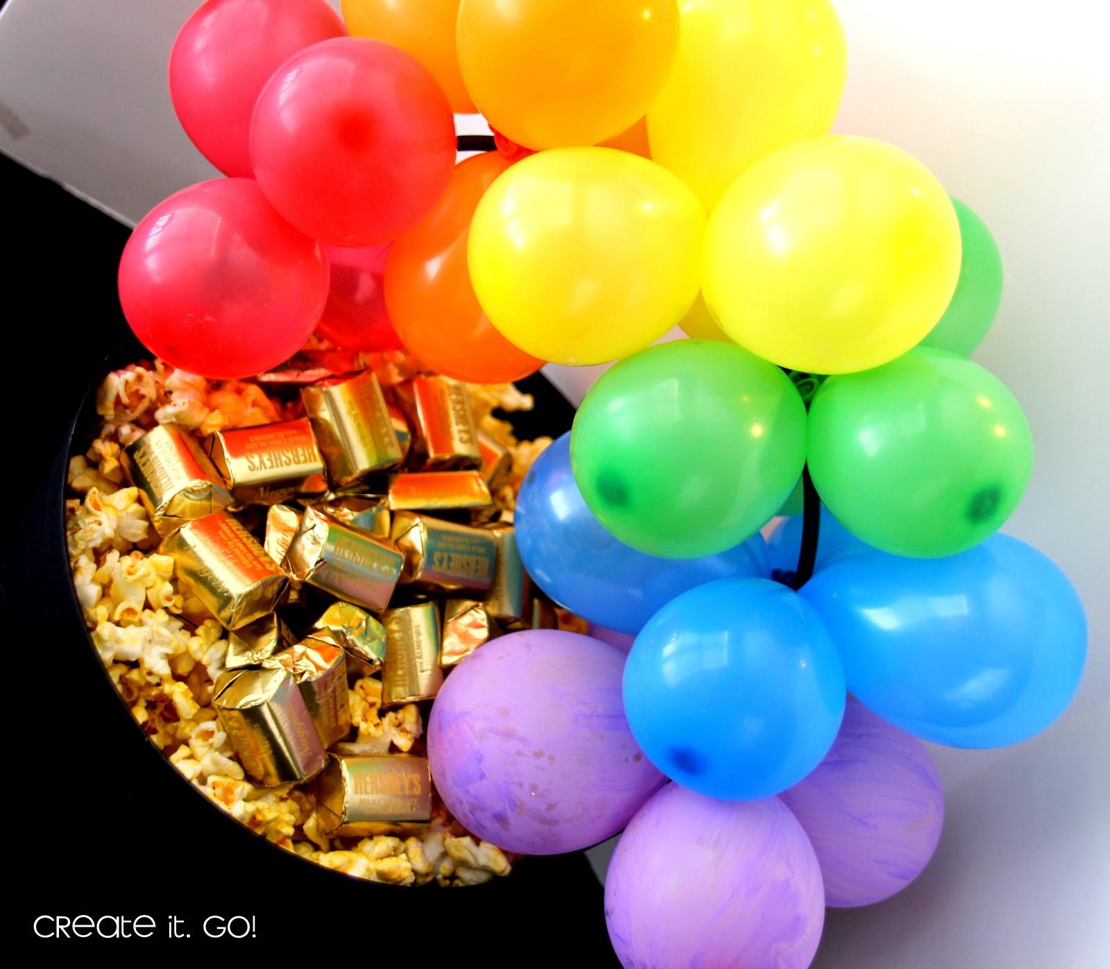 rainbow balloon arch on pot of gold snacks diy create it go