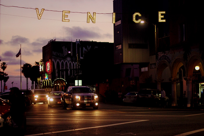 Venice sign at night los angeles