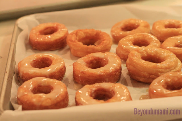 A tray of cronuts containing some made using Dinner With Julie's recipe, some with Pillsbury pre-made dough.