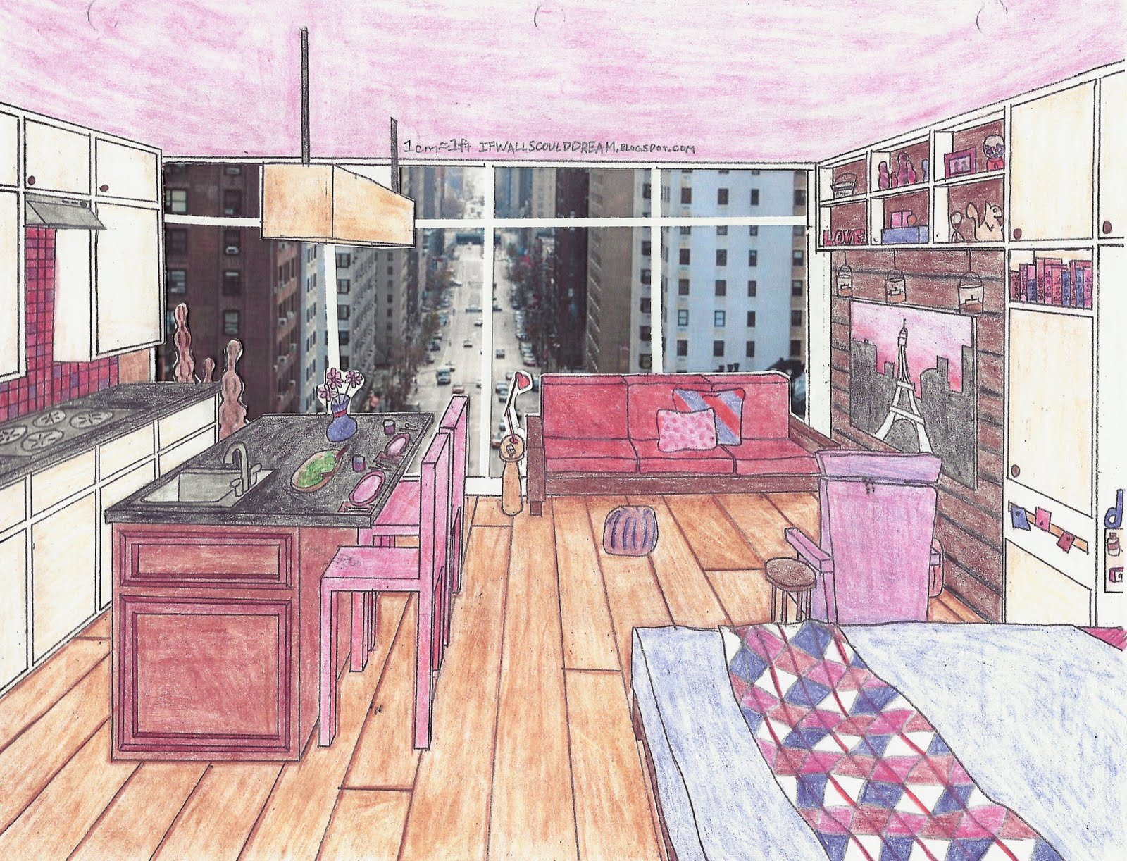 To learn more about this sketch visit the modern feminine apartment post