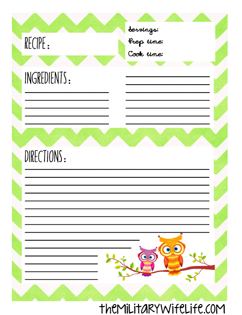 Free printable recipe binder page the military wife life for Free recipe templates for binders