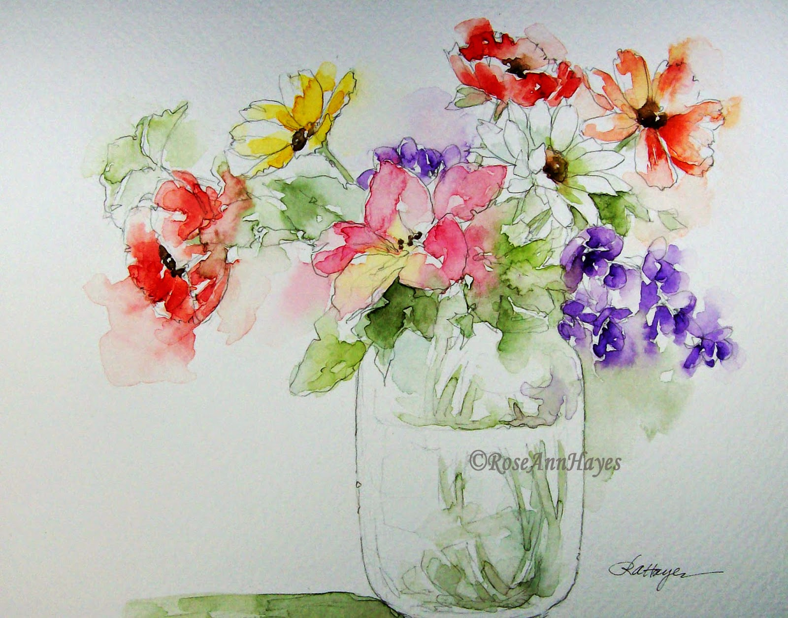 watercolor paintings by roseann hayes watercolor painting of flowers