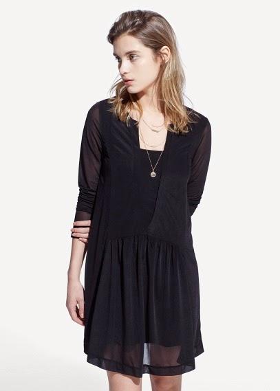 Mango 2015 Elbise Modelleri  tüllü transparan elbise, siyah renk elbise, kısa mini elbise