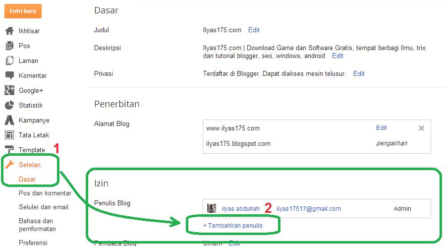 cara menambahkan pengarang dan admin di blogger-1