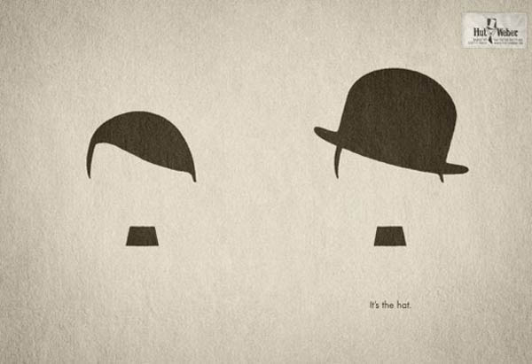 anúncios minimalistas e criativos na internet - Hut Weber
