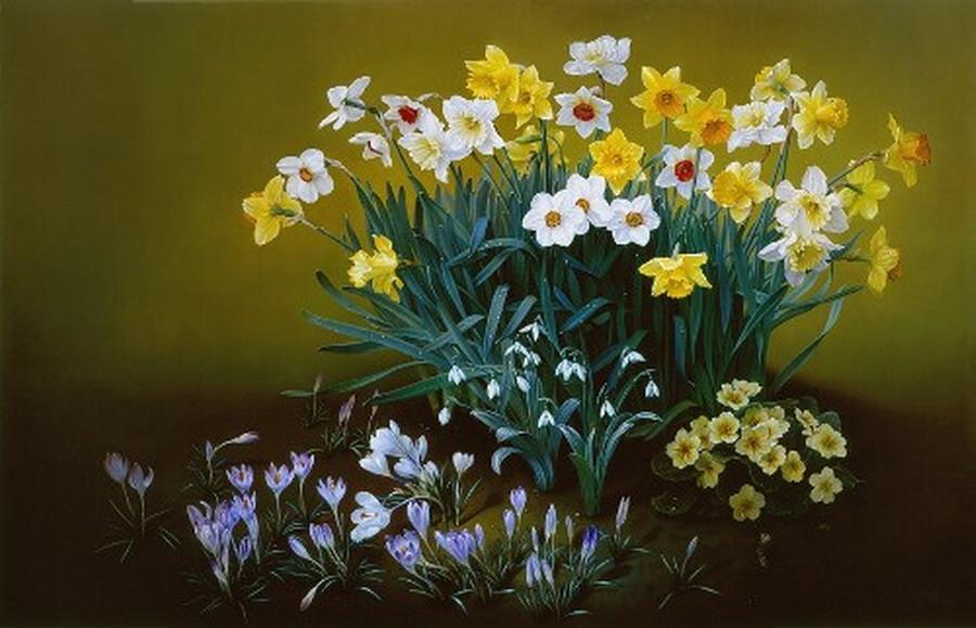 Cuadros modernos pinturas y dibujos canastas y ramos de - Ramos de flores modernos ...