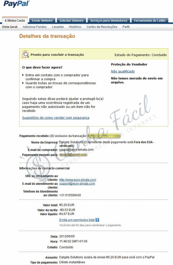 pagamento euro pinata paypal dinheiro receber ganha ganhar