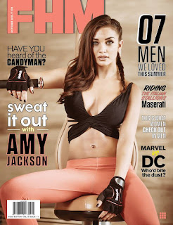 Amy Jackson on cover of FHM India Magazine October 2015 Issue gorgeous in pink pant and deep neck black short top