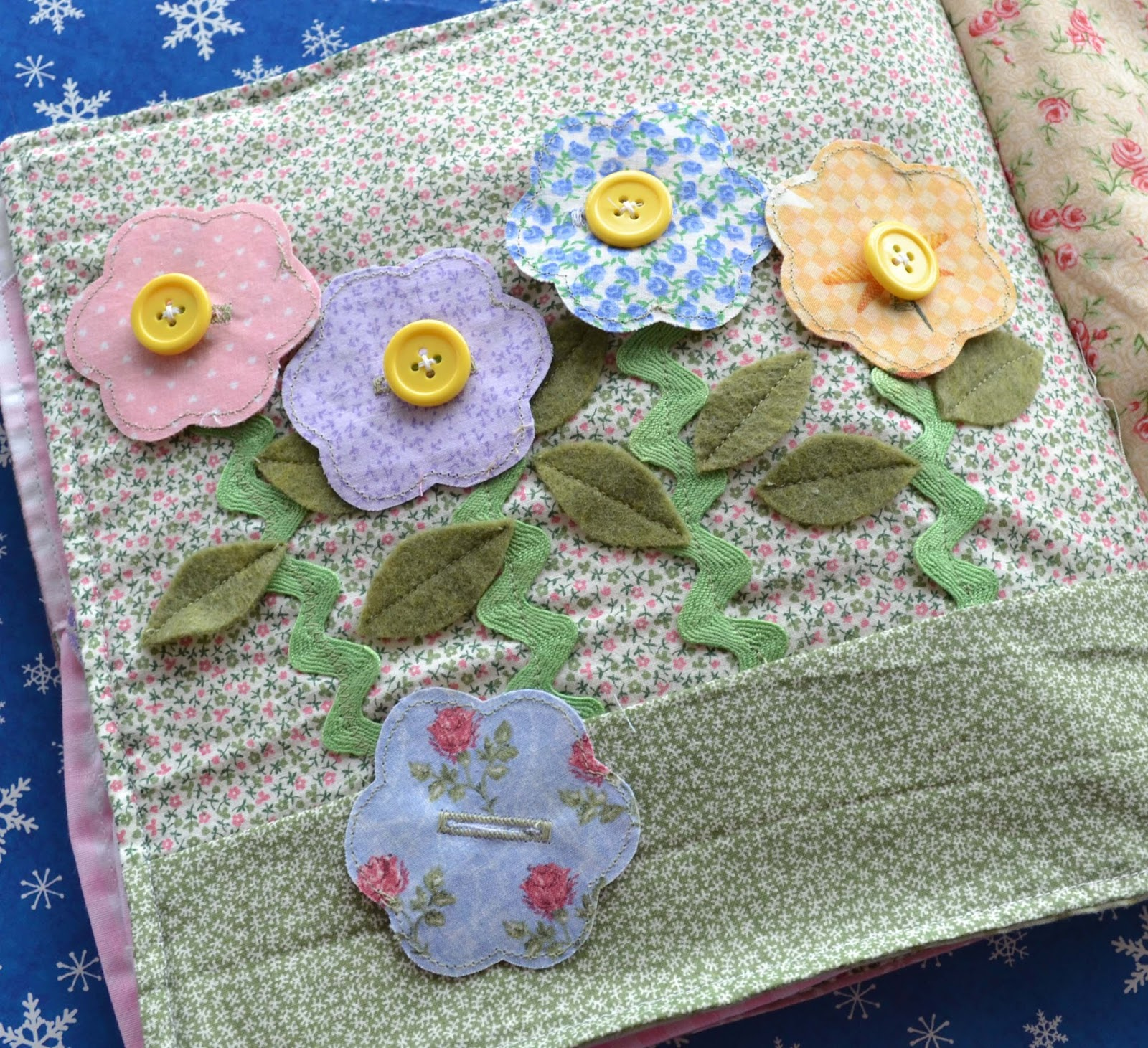 reversible fabric button flowers quiet book page