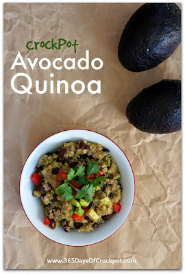 crockpot recipe for avocado quinoa #meatlessmonday #quinoa #healthy #summerslowcookersuppers #crockpot www.365daysofcrockpot.com