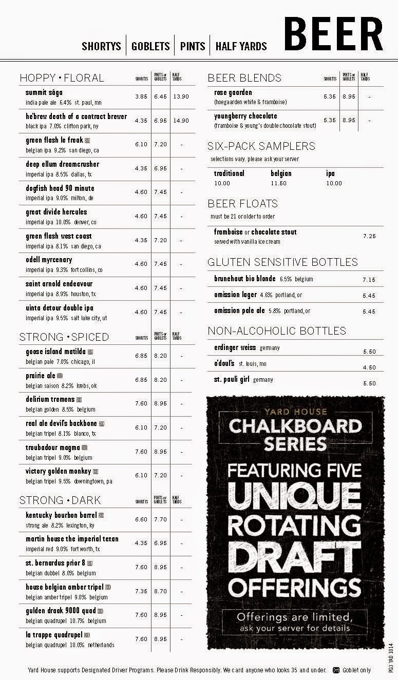 Yard House Drink Menu With Prices