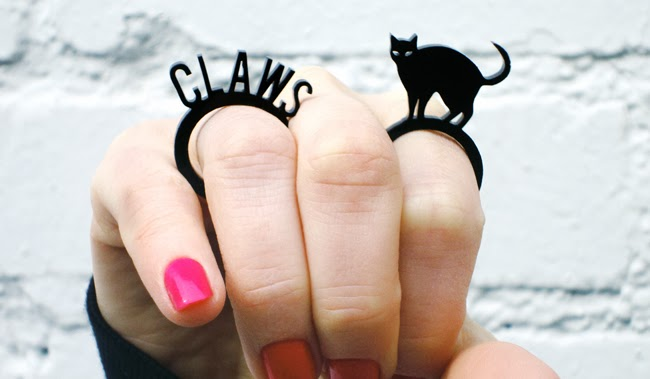 i love crafty, cat ring, claw ring