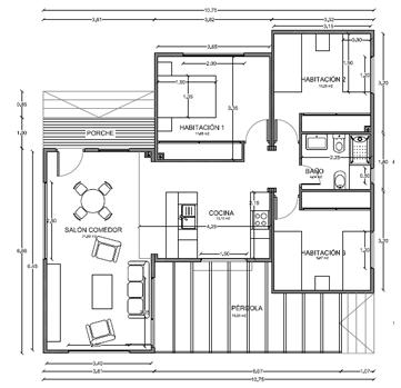 Casas de madera en espa a plano casa madera 96 m2 - Casas contenedor espana ...