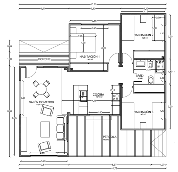 Casas de madera en espa a plano casa madera 96 m2 for Planos de casas prefabricadas