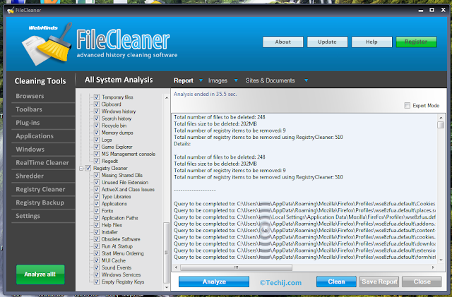 Free FileCleaner Pro for Windows Techij