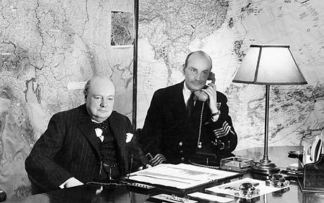 Winston Churchill in the Map Room