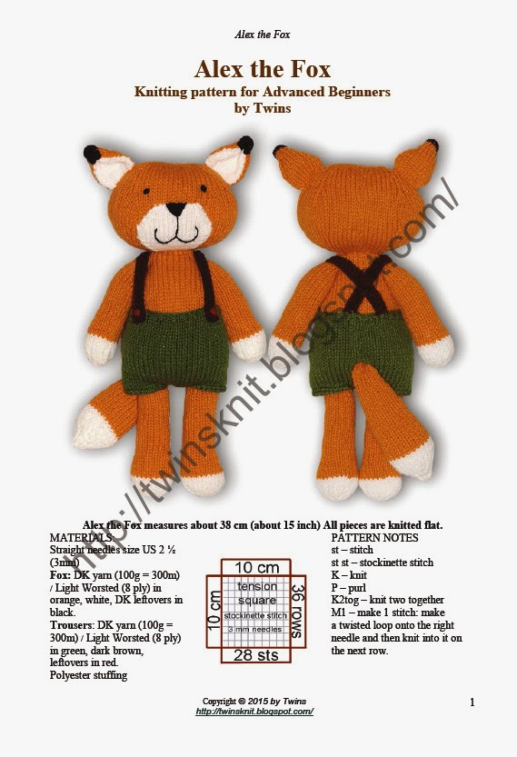 Twins Knitting Pattern Minishop Alex The Knitted Fox