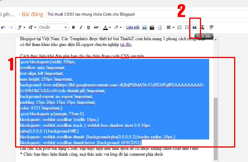 Thủ thuật CSS3 tạo khung chứa Code cho Blogspot