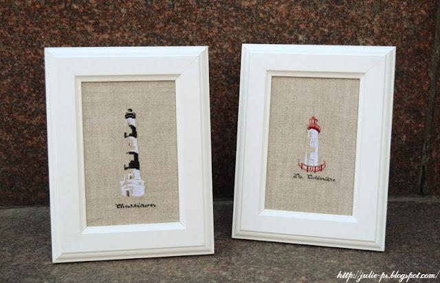 Marie-Thérèse Saint-Aubin, MTSA, Voyage, dans la lumière des phares, le phare de Chassiron, le phare de la Côtinière, вышивка крестом, маяк, вышивка, point de croix