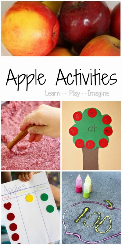 25 hands on learning activities with an apple theme including math, literacy, science, gross motor, and sensory play.