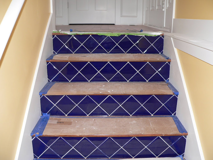 Feb 12 - Cobalt tiles on the risers on the stairs to the lower level