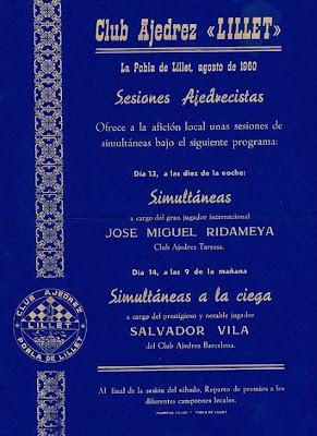 Cartel de 1960 anunciando unas simultáneas de ajedrez de Ridameya y Salvador Vila Sala