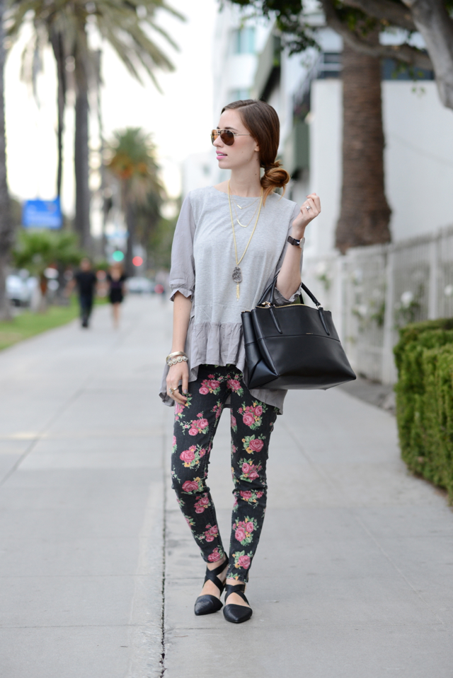 gray top with floral jeans via M Loves M