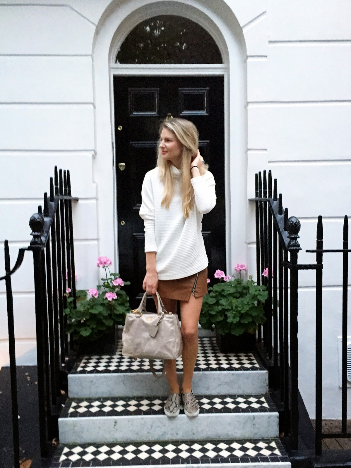 fashion blogger, white turtleneck jumper, leather skirt, jumper and leather skirt, slip ons, street style london, acne style jumper, galactic white jumper, prada bag, fashion blogger london