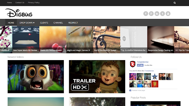 Digbug Video Gallery Template for Blogger