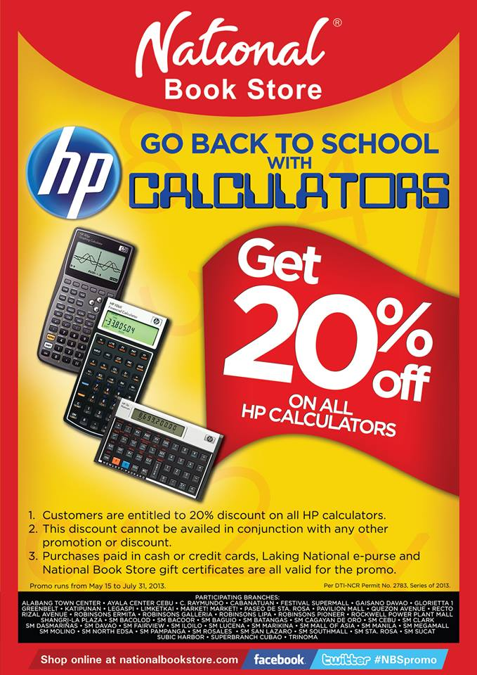 EXPIRED 20 National Bookstore HP Calculator Discount May 15