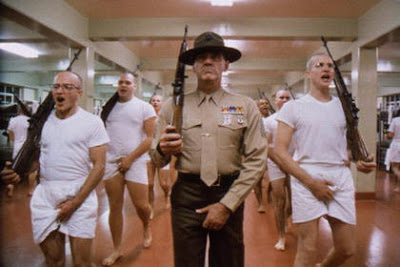 Matthew Modine as Pvt. J.T. 'Joker' Davis, R. Lee Ermey as Gunnery Sergeant Hartman, Parade Song, this is my rifle, this is my gun, directed by Stanley Kubrick
