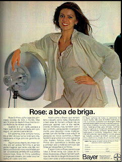 propaganda Bayer com a modelo Rose Di Primo - 1979.  anos 70. Oswaldo Hernandez. propaganda anos 70. Reclame anos 70
