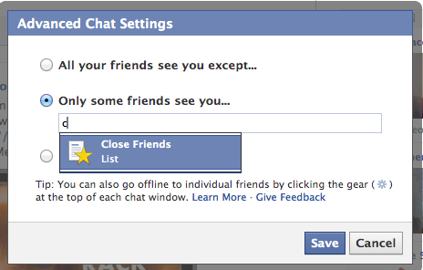 Who can see you on Facebook chat