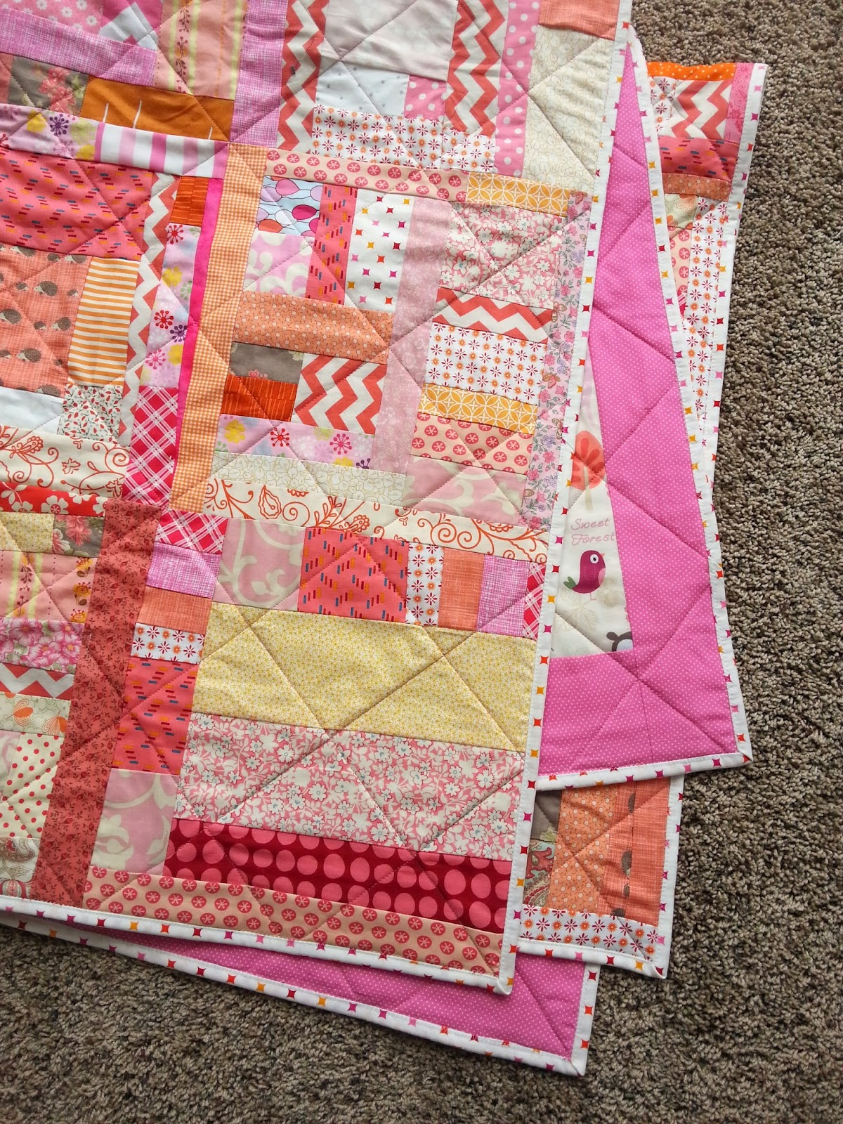 Pink and Orange Improv Quilt Texture and Quilting