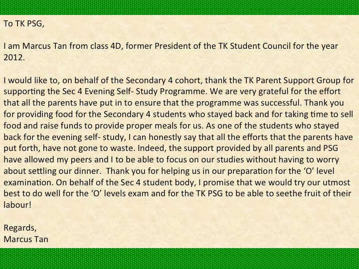 Tkss Parent Support Group A ThankYou Letter From Sec  Student